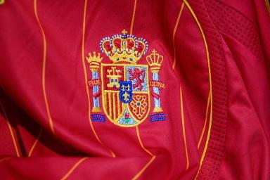 撮影したスペインのサッカー連盟のロゴを示す写真 09 12月 2005 ライプツィヒ. AFP PHOTO